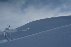 Esquí que va de excursión en las montan@as suizas Foto de archivo