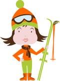 Esquí y niño Imagen de archivo libre de regalías