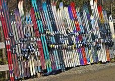 Esquís de la nieve en una fila Fotografía de archivo