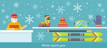 Esquí y accesorios del engranaje de los deportes de invierno Fotografía de archivo libre de regalías