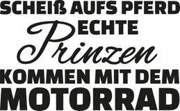 Esqueça o cavalo, volta real do príncipe acima pela motocicleta Indicação alemão ilustração do vetor