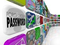 Esqueça seu Internet Profi do programa da conta do App do software da senha Fotografia de Stock Royalty Free