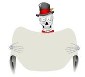 Esqueleto apuesto con la muestra en blanco Imágenes de archivo libres de regalías
