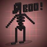esqueleto arte do pixel 3D Imagens de Stock
