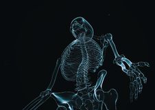 Esqueleto 3d do RAIO X rendido com espaço da cópia ilustração do vetor
