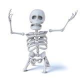 esqueleto 3d en sus rodillas en los hoyos de la desesperación ilustración del vector