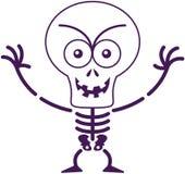 Esqueleto dañoso de Halloween que presenta y que sonríe malévolo Foto de archivo libre de regalías