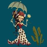 Esqueleto de la mujer en vestido místico con el cartel del paraguas ilustración del vector