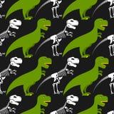 Esqueleto do dinossauro e teste padrão sem emenda ilustração stock
