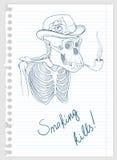 Esqueleto do gorila com tubulação de fumo Imagens de Stock Royalty Free