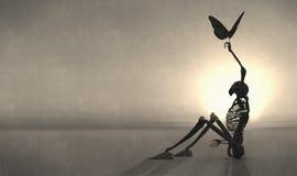 esqueleto e borboleta Fotos de Stock Royalty Free