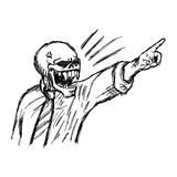 Esqueleto enojado dibujado mano del garabato del vector del ejemplo en negocio Imagen de archivo