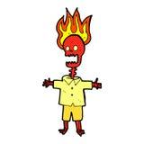 esqueleto flamejante dos desenhos animados cômicos Imagens de Stock Royalty Free
