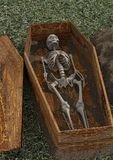 Esqueleto muerto en ataúd libre illustration