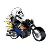 Esqueleto que conduce una motocicleta Foto de archivo libre de regalías