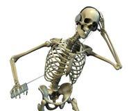 Esqueleto que escucha la música Foto de archivo libre de regalías