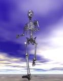 Esqueleto Running de aço na areia molhada ilustração do vetor