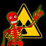 Esqueleto vermelho com símbolo do aviso da radiação ilustração royalty free
