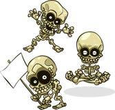 Esqueletos de Halloween dos desenhos animados do vetor Fotografia de Stock Royalty Free