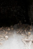 Esqueletos em vertentes do barco, local arqueológico de Herculaneum, Campania, Itália Fotografia de Stock