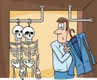 Esqueletos en la historieta del armario Foto de archivo libre de regalías
