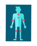Esquema anatómico del cuerpo humano en diseño plano Foto de archivo