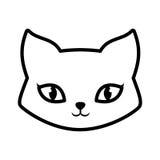 esquema animal precioso mullido del gato de la cara Fotos de archivo