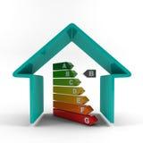 Esquema azul de la casa con el grado del rendimiento energético Imagen de archivo