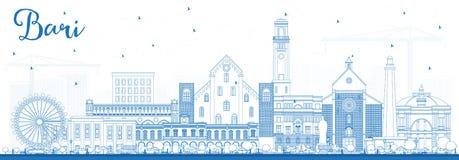 Esquema Bari Italy City Skyline con los edificios azules ilustración del vector