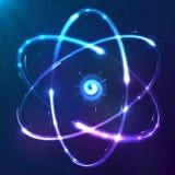 Esquema brillante del neón del vector del átomo ilustración del vector