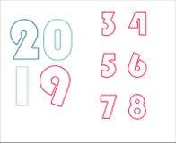 Esquema coincidido 2019 y número - vector libre illustration
