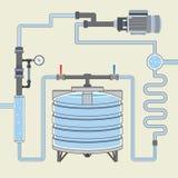 Esquema com tanque e tubulações de água Vetor Fotos de Stock Royalty Free