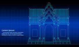 Esquema constructivo tailandés histórico ilustración del vector