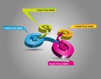 esquema de color 3d con pasos y etiquetas de ABCD Fotografía de archivo libre de regalías