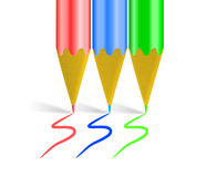 Esquema de color de RBG con los creyones Foto de archivo