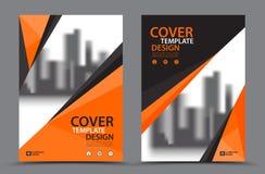 Esquema de cores alaranjado com molde do projeto da capa do livro do negócio do fundo da cidade no A4 Disposição do inseto do fol Fotografia de Stock