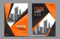 Esquema de cores alaranjado com molde do projeto da capa do livro do negócio do fundo da cidade no A4 Disposição do inseto do fol Imagens de Stock Royalty Free
