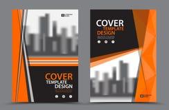 Esquema de cores alaranjado com molde do projeto da capa do livro do negócio do fundo da cidade no A4 Disposição do inseto do fol Foto de Stock Royalty Free