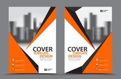 Esquema de cores alaranjado com molde do projeto da capa do livro do negócio do fundo da cidade no A4 Disposição do inseto do fol Imagem de Stock