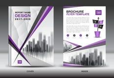 Esquema de cores roxo com o DES da capa do livro do negócio do fundo da cidade Foto de Stock Royalty Free