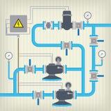 Esquema de Infographic com líquido, tanque de água Vetor Imagens de Stock