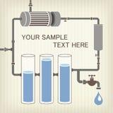 Esquema de Infographics com líquido, um tanque de água ilustração stock