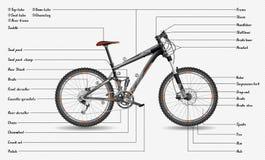 Esquema de la bici de montaña stock de ilustración