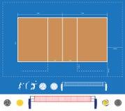Esquema de la corte de voleibol del vector Fotos de archivo libres de regalías