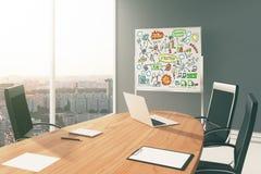 Esquema de la estrategia empresarial a bordo en sala de conferencias moderna Foto de archivo