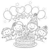 Esquema de la fiesta de cumpleaños de los niños stock de ilustración