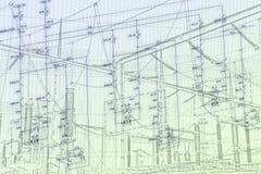 Esquema de la ingeniería del equipo de la automatización Foto de archivo libre de regalías
