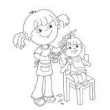 Esquema de la página que colorea de la muchacha con jugar en la peluquería de caballeros ilustración del vector