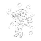 Esquema de la página que colorea de las burbujas de jabón de la muchacha de la historieta que soplan stock de ilustración