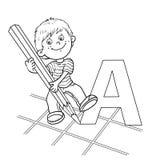 Esquema de la página que colorea de un muchacho del dibujo de la historieta Imagenes de archivo